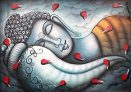 Lord Buddha Sleeping Mood Oil Painting Handpainted on Canvas (Without Frame)