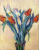 VASE OF TULIPS Handpainted Painting on Canvas Wall Art Painting (Without Frame)