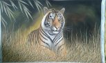 The Tiger in the Forest Handpainted on cloth with natural colours  (Without Frame) (B)